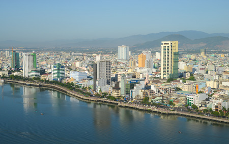 DA NANG, VIETNAM - MARCH 19, 2015: View of Da Nang city centre, Vietnam. Da Nang is the third largest city of Vietnam. Редакционное