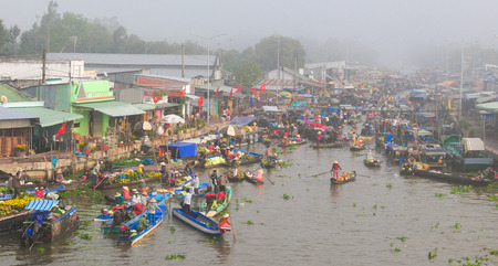 nam: Nga Nam floating market in sunrise in Soc Trang, Vietnam. Nga Nam market is the convergent point of five rivers which flow into five different directions. Editorial