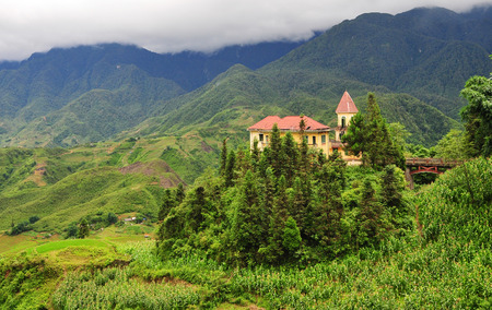 cai: Architecture of Sapa, Lao Cai, Vietnam. Sapa is a frontier town and capital of Lao Cai province, Vietnam. Stock Photo