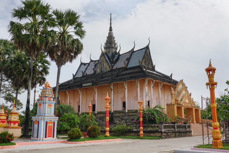 sight seeing: One of famous Khmer temple in Mekong Delta, Vietnam. The Mekong Delta is home to many religious people Khmer.