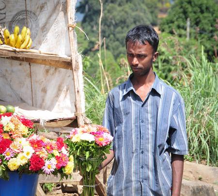 sallad: HIKKADUWA, SRI LANKA - FEBRUARY 23, 2015. Portrait of market vendor selling his produce. The Sunday market is great way to see Hikkaduwas local life.
