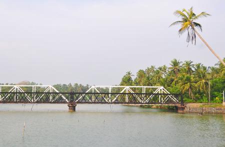 southern sri lanka: A train bridge over the river in southern Sri Lanka.