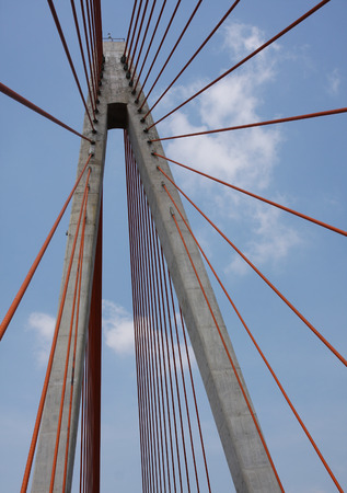 can tho: Top part of Can Tho cablestayed bridge in Can Tho.  Stock Photo