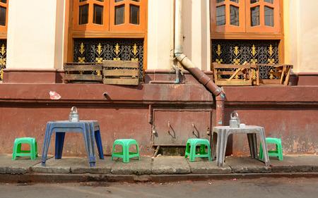 Coffee shop on the street in Yangon, Myanmar. photo