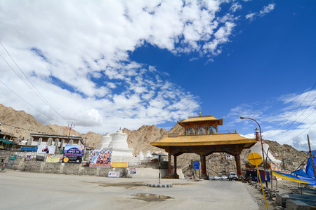 tibetan house: LADAKH, INDIA - JUL 22, 2015. Entrance of Leh city in the Indian State of Jammu and Kashmir. Leh was the capital of the Himalayan kingdom of Ladakh.