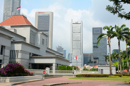 legislature: Singapore - Jul 4, 2015. Singapore Parliament building in front of Singapore downtown. The Parliament and the President jointly make up the legislature of Singapore.
