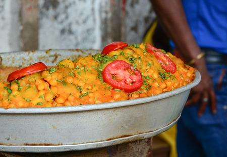 bodhgaya: Indian street food at the market in Bodhgaya, India. Stock Photo