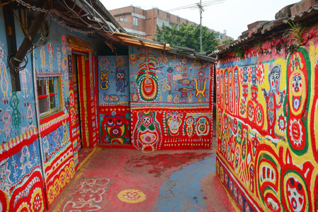 Taichung, Taiwan - Mar 15, 2015. Rainbow village, the colourful graffiti painted on the wall in Taichung. It is a famous sightseeing spot in Taiwan.