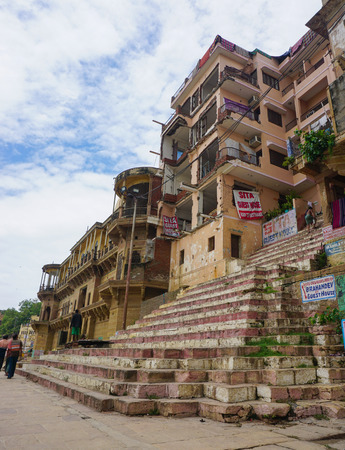 benares: Varanasi, India - Jul 12, 2015. A morning view on the ghat in Varanasi, India. Varanasi is a holy Indian city of the banks of the Ganga in Uttra Pradesh, India. Editorial