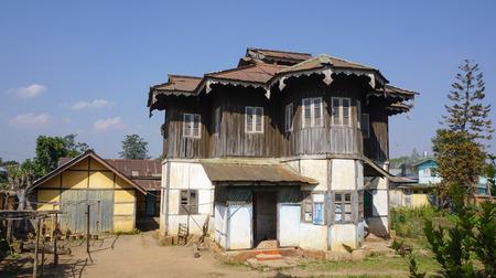 sidelight: Eliya Nuwara, Sri Lanka - May 19, 2015. Old English colonial style house in the holiday Nuwara Eliya town, Sri Lanka. Editorial
