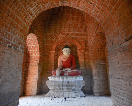 predominantly: Buddha statue in temple at Bagan, Myanmar. Buddhism in Myanmar is predominantly of the Theravada tradition, practised by 89% of the countrys population.