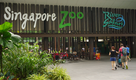 Singapore - Jan 11, 2015. Entrance to Singapore Zoo. There are about 315 species of animal in the zoo. The Singapore zoo attracts about 1.6 million visitors each year. 版權商用圖片 - 44939636