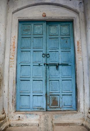 varanasi: Hand crafted wooden door at Varanasi, India. Stock Photo