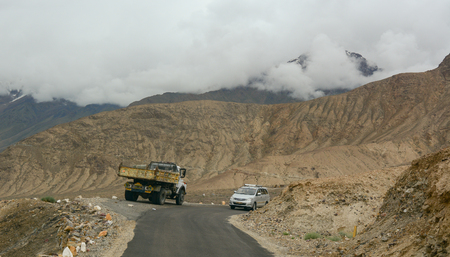 land use: Ladakh, India - Sep 1, 2015. Traffic on the mountain road in Ladakh, India. In present times, the only two land routes to Ladakh in use are from Srinagar and Manali. Editorial