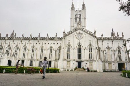 saint pauls cathedral: Kolkata, India - Aug 2, 2015. View of Saint Pauls Cathedral of Kolkata, India. Landmark Anglican church completed in 1847, with restored steeple and notable stained glass windows.