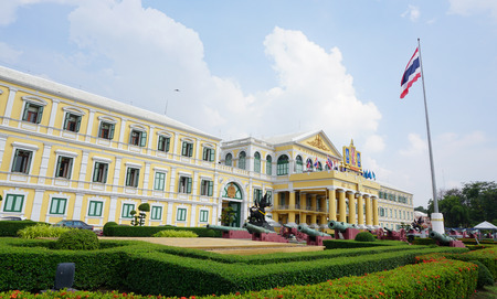 ministry: Bangkok, Thailand  - June 22, 2015. View of Ministry of Defence building in Bangkok, Thailand. The Ministry controls and manage the Royal Thai Armed Forces. Editorial