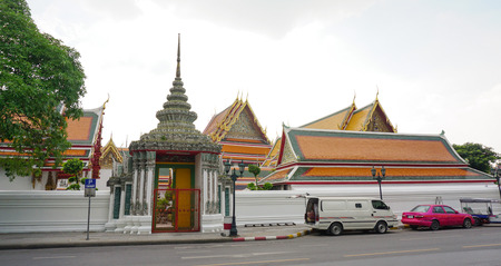 wat pho: Bangkok, Thailand  - June 22, 2015. The main gate of Wat Pho in Bangkok, Thailand. Wat Pho is one of the largest and oldest wats in Bangkok.