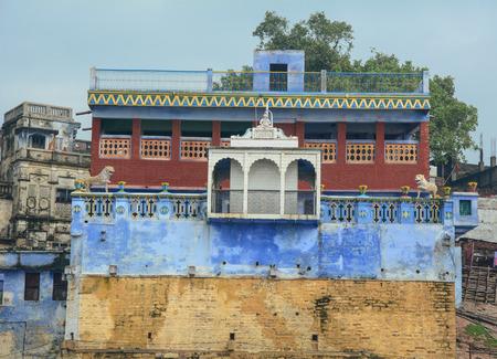 benares: Varanasi, India - Jul 12, 2015. View of the ghats in the morning in Varanasi, India. Varanasi is a holy Indian city of the banks of the Ganga in Uttra Pradesh, India. Editorial