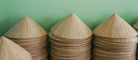 conical: Asian conical hats in the traditional village in Hanoi, Vietnam.