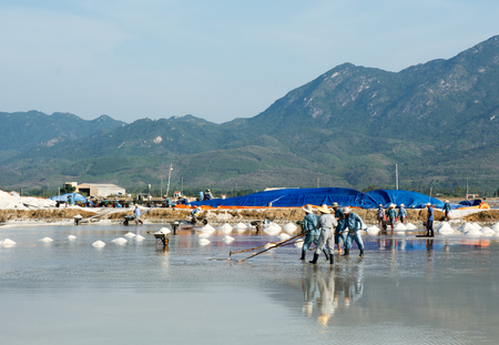 immense: Nha Trang, Vietnam - June 12, 2015. Vietnamese people working on the salt fields in Ninh Hoa. About 40 kilometers north of Nha Trang, there are immense salt fields.