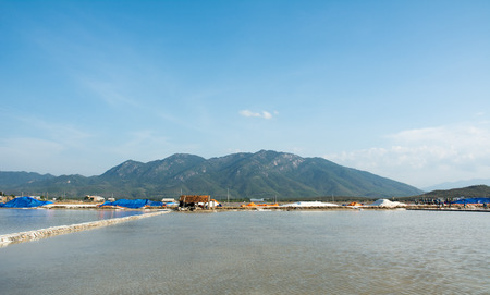 immense: View of the salt fields in Ninh Hoa, Vietnam. About 40 kilometers north of Nha Trang, there are immense salt fields.
