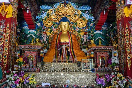 bodhgaya: Bodhgaya, India - Sep 4, 2015. Big Buddha statue inside a Buhtanese temple in Bodhgaya, Bihar, India.