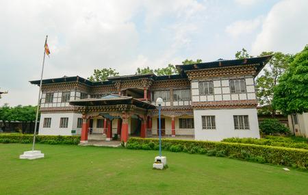 bodhgaya: Bodhgaya, India - July 22, 2015. Color paintings traditional Bhutanese Buddhist temple in Bodhgaya, India.