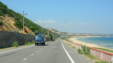 Nha Trang, Vietnam - Apr 20, 2015. View of the highway from Nha Trang to Dalat in Vietnam. The total length of the Viet Nam road system is about 222,179 km.