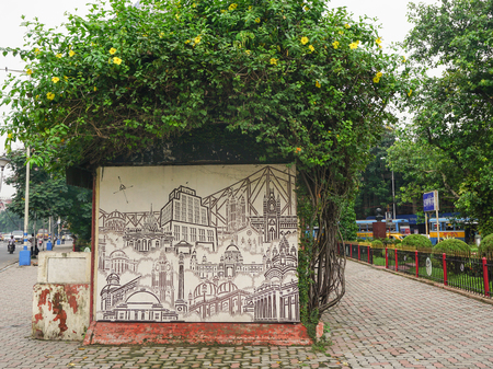 elliot: CALCUTTA, INDIA - AUG 10, 2015. Graffiti at Elliot Park in central part of Calcutta, India. Kolkata (formerly Calcutta) was Indias capital under the British Raj.