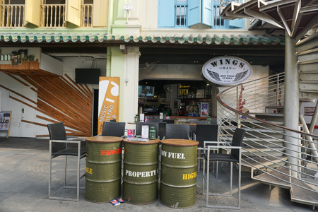 historically: SINGAPORE - AUGUST 15, 2015. Chinatown in Singapore, an ethnic neighborhood featuring Chinese cultural elements and a historically concentrated ethnic Chinese population, as seen. Editorial