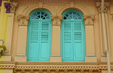 vernacular: Vintage windows in Singapore. Traditional architecture in Singapore includes vernacular Malay houses.