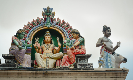 mariamman: Details of Sri Mariamman Hindu Temple in Singapore. Stock Photo