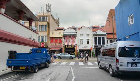 Singapore - Aug 30, 2015. Old buildings in Chinatown of Singapore. As the largest ethnic group in Singapore is Chinese, Chinatown is considerably less of an enclave than it once was.