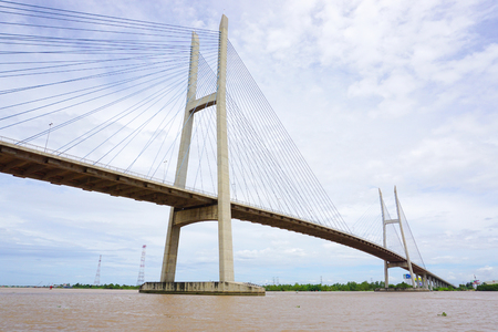 CAN THO CITY, VIETNAM - JUN 28, 2015. View of Can Tho cable-stayed bridge in Can Tho, southern Vietnam. The bridge is currently the longest main span cable-stayed bridge in Southeast Asia.