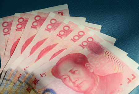 yuan: Yuan notes from Chinas currency. Chinese banknotes. Stock Photo