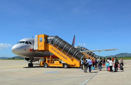 lien: Da Lat, Vietnam - Oct 19, 2015. An airplane of Jetstar ready for take off Lien Khuong airport within a flight from Da Lat city to Hanoi capital.
