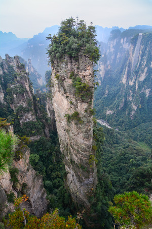 strange mountain: Landscape of of Zhangjiajie. Located in Wulingyuan, Scenic and Historic Interest Area as an AAAAA scenic area in china.