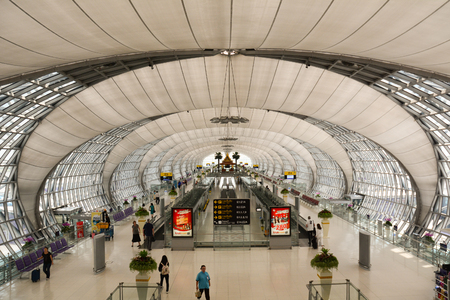 BANGKOK, THAILAND - OCT 19, 2015. Departure hall at  Suvarnabhumi Airport, Bangkok. Suvarnabhumi Airport is one of two international airports serving Bangkok Editorial