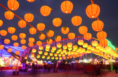lunar month: Taiwan Taichung - March 14, 2015. Night view of Taiwan Lantern Festival in Taichung. The Lantern Festival is held annually on the 15th day of the first lunar month.