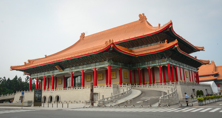 steps and staircases: Taipei, Taiwan - Jan 11, 2015. View of Chiang Kai-Shek Memorial Hall in Taipei. The Memorial Hall is a popular travel destination among tourists visiting Taiwan.
