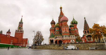 Moscow, Russia - Oct 4, 2016. Red Square with Saint Basil church and Kremlin located in center of Moscow. Most popular toursits landmarks in Russian Federation.