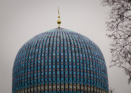 Dome of Saint Petersburg Mosque in Russia. It is was the largest mosque in Europe outside Turkey. Closed up.