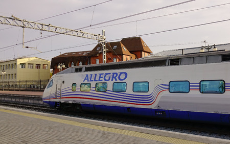 allegro: Vyborg, Russia - Oct 6, 2016. Allegro Train stopping at the station in Vyborg, Russia.