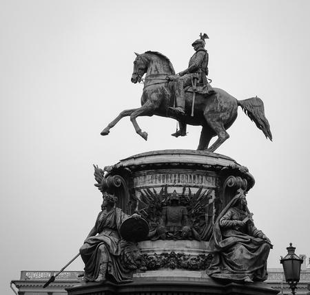Saint Petersburg, Russia - Oct 12, 2016. Tsar statue with the horse at main square in Saint Petersburg, Russia.