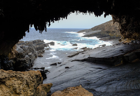 The cave of Admirals Arch on Kangaroo Island, South Australia.