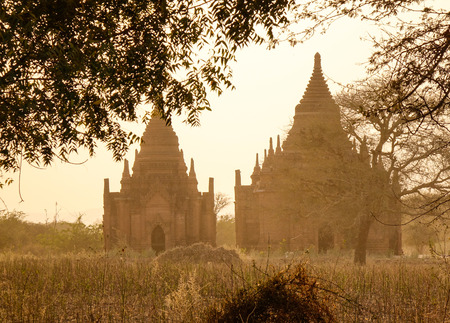 Buddhist temples at sunset in Bagan, Myanmar.