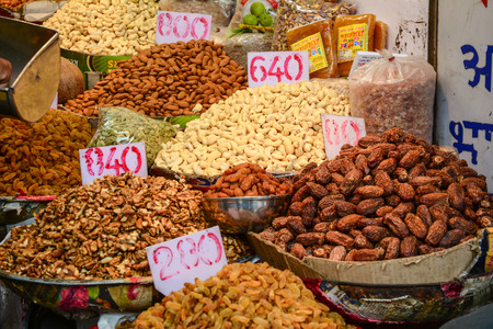 Delhi, India - Jul 26, 2015. Dried nuts for sale at local market in Old Delhi, India. Editorial
