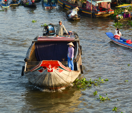 Soc Trang, Vietnam - Feb 2, 2016. Cargo boat on Nga Nam floating market in Soc Trang, southern Vietnam. Nga Nam is one of famous market in southern Vietnam.