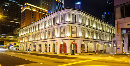 Singapore - Jul 4, 2015. Old buildings at night in Chinatown, Singapore. Chinatown is central with regard to hostel and food for tourist.