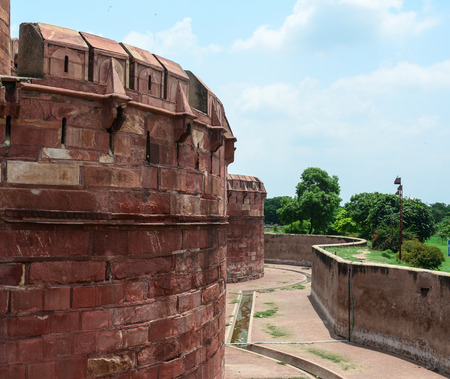 View of Agra Fort, World Heritage site. The fort was built by the Mughals, can be more accurately described as a walled city in Agra, India.